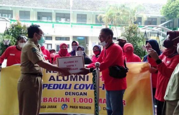 Bantuan Almuni Splasma th 1981 dalam Mendukung Gerakan memakai masker 24 jam sehari di SMP NEGERI 1 PLAOSAN